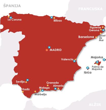 spanija mapa Španija 2018 Španija leto 2018 Španija letovanje 2018 Najpovoljnije spanija mapa